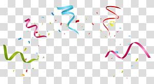 Pesta Ulang Tahun Pita, pita kembang api yang berwarna-warni, pita merah, biru, dan hijau serta ilustrasi confetti png