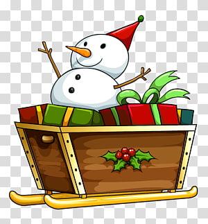 manusia salju naik ilustrasi kereta luncur, Santa Claus Sled Reindeer Illustration, Christmas Deco Snowman png