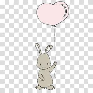 kelinci abu-abu memegang balon jantung stiker, Balon Kelinci Kelinci Leporids, Memegang balon kelinci png