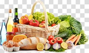 keranjang dengan buah-buahan dan sayuran, toko bahan makanan Makanan Putih, Buah dan sayuran png