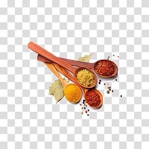 empat macam rempah-rempah bubuk dan sendok kayu cokelat, Masala chai masakan India Rempah-rempah Cabai bubuk Bumbu, Bahan Sendok png