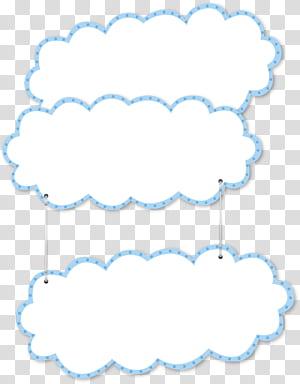 Tata letak halaman, awan kartun perbatasan biru, dekorasi dinding awan putih dan biru png