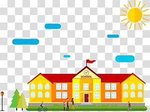 gedung sekolah kuning dan merah, Gambar Kartun Sekolah, gedung sekolah ilustrasi png