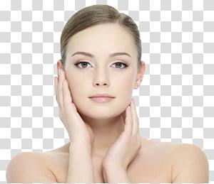 Wanita menyentuh wajahnya, Kosmetik Kecantikan Kulit Wajah Wajah, Gadis Cantik PNG clipart