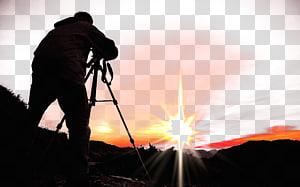 black holding camera, grapher Camera Silhouette, Shap landscape grapher png