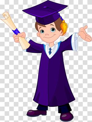bocah lelaki yang mengenakan papan mortar dan pakaian akademik, Gambar Wisuda, Lulus png