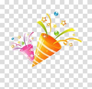 ilustrasi tanduk pesta aneka warna, konten gratis pelepasan pesta kembang api, kembang api PNG clipart