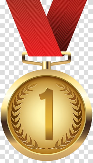 ilustrasi 1 medali berwarna emas, medali emas, medali emas png