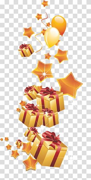 ilustrasi hadiah berwarna emas, Kartu Ucapan Selamat Ulang Tahun Balon Hadiah, kotak hadiah Emas dengan balon png
