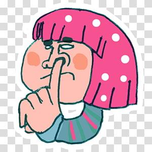 wanita berambut merah muda, font seni emosi, Pick Nose png