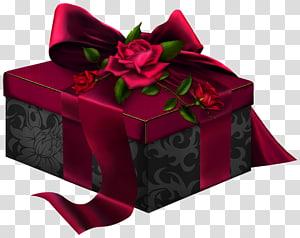 kotak hadiah merah dan hitam, Kotak Hadiah Rosaceae Rectangle, Merah dan Hitam 3D Hadir dengan Mawar png
