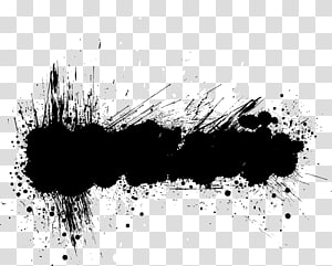 gelembung teks hitam dan putih, Banner Grunge, Abstrak tinta hitam png