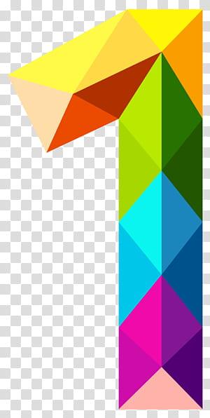 Warna Angka, Segitiga Berwarna-warni Nomor Satu, ilustrasi berwarna 1 PNG clipart