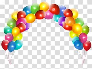 balon lengkungan aneka warna, Balon Pesta Ulang Tahun kue, Balon Ulang Tahun png