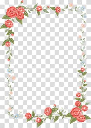 Border Flowers Desain bunga, bingkai mawar, ilustrasi bingkai bunga merah, putih, dan hijau png