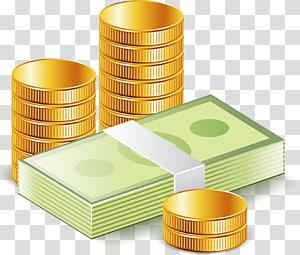 putaran koin berwarna emas dan ilustrasi tumpukan uang kertas, Money Euclidean Icon, Money dollar png