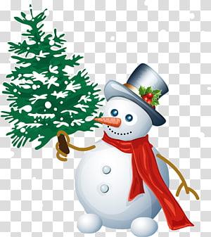 Snowman memegang ilustrasi pohon Natal, Snowman Christmas Santa Claus, Snowman with Tree png