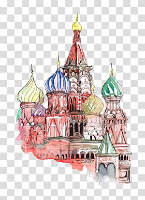 Katedral Saint Basils Red Square Kertas Sticker Dinding decal, Hand painted castle PNG clipart