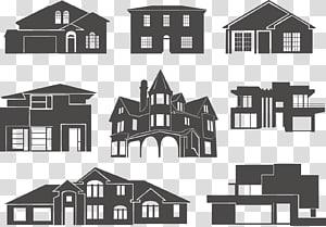berbagai macam ilustrasi gaya rumah, Gedung Siluet Rumah, rumah png