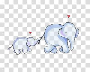 Baby Mother Elephant, Kartun bayi gajah, dua ilustrasi gajah biru png