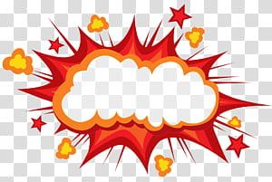Kartun Komik Ledakan Komik buku, Meledak awan jamur untuk menghindari kotak tembus, merah dan oranye kutipan gelembung ilustrasi png