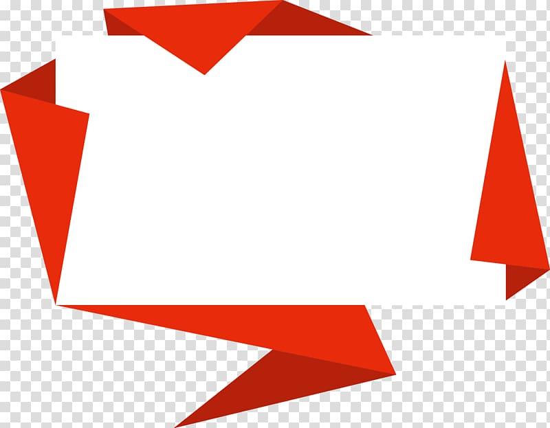 Kotak Teks Origami, batas hiasan origami, ilustrasi kertas putih dan merah png