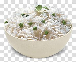 nasi dan kacang-kacangan pada mangkuk keramik putih, masakan Vegetarian. Beras Masakan India Makanan Basmati, nasi png