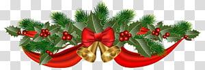pita merah dengan dua lonceng kuning, Natal Ribbon Jingle bell, Christmas Golden Bells and Ribbon png