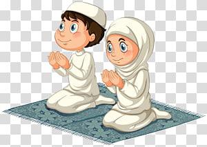 pria dan wanita berlutut di atas karpet ilustrasi, Islam Doa Muslim, Berlutut pria dan wanita PNG clipart