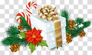 kotak hadiah dengan ilustrasi busur emas, Pesta Liburan Natal, Dekorasi Hadiah Natal Putih png