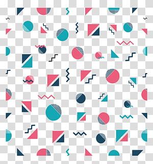 ilustrasi berbagai macam bentuk, Pola Kelompok Memphis, Pola geometris segitiga bulat PNG clipart