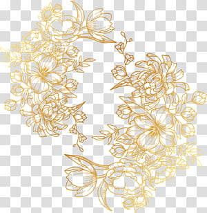 dicat bunga emas, stiker bunga emas png