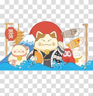 Tinta naga Cina, Tinta naga, kucing makeniko dengan gelombang laut dan ilustrasi lentera Jepang png