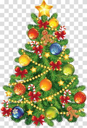 Pohon Natal, Pohon Natal Besar dengan Ornamen Jahe, ilustrasi pohon Natal dengan ornamen PNG clipart