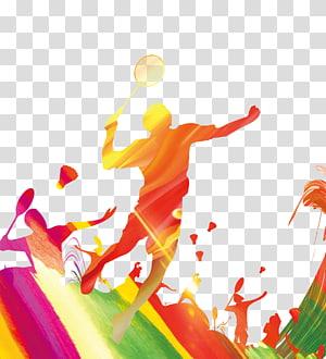 orang bermain ilustrasi bulutangkis, Poster Badminton Adobe Illustrator, Badminton Players Silhouette png