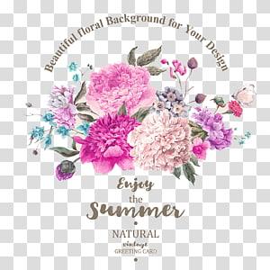 Buket bunga, Lukisan cat air, Undangan pernikahan, Indah bunga yang dilukis dengan tangan, Tanaman bahan, Merah muda bunga anyelir ... png