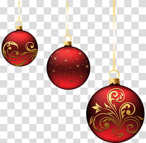 Ornamen Natal, Dekorasi Natal, Ornamen Bola Merah Natal, tiga ilustrasi perhiasan merah png