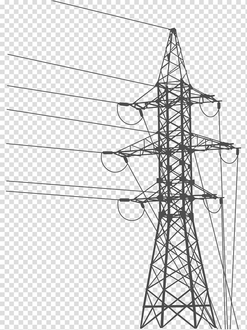 ilustrasi menara transmisi, Overhead power line Transmisi daya listrik Menara transmisi Listrik Jaringan listrik, listrik png
