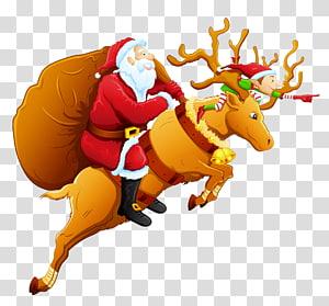 Sinterklas mengendarai ilustrasi rusa, rusa Santa Claus rusa Santa Claus Natal, Santa dan rusa kutub png