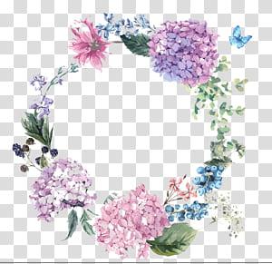 Hydrangea Undangan Pernikahan Flower Illustration, desain bunga cat air yang dilukis dengan tangan, berbagai macam ilustrasi bunga PNG clipart