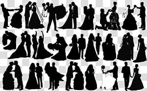 ilustrasi menari pasangan, pasangan Siluet Pernikahan, Siluet pasangan pernikahan hitam dan putih PNG clipart
