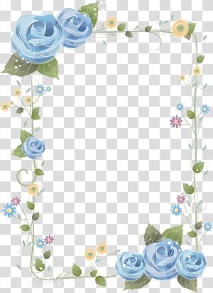 Flower Blue rose Frames, perbatasan Cina, ilustrasi bingkai bunga biru dan hijau png