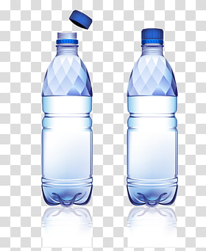 dua botol kaca bening dengan air, Minuman ringan Botol air minum, botol air mineral png