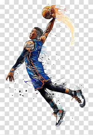 NBA All-Star Game Oklahoma City Thunder Basketball NBA Penghargaan Pemain Paling Berharga, pemain basket tangan-dicat, Russell Westbrook PNG clipart