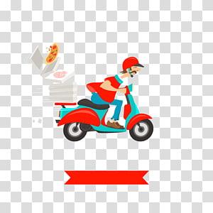 ilustrasi sepeda motor pria, Take-out Pizza Masakan Italia Masakan India Pengiriman, pengiriman pizza png
