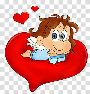 malaikat berbaring di ilustrasi hati, Hari Valentine, Valentine Cute Angel png