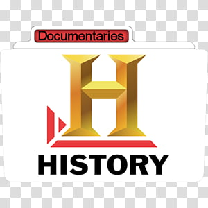 Logo History Chanel, teks merek area kuning, Sejarah Dokumenter png