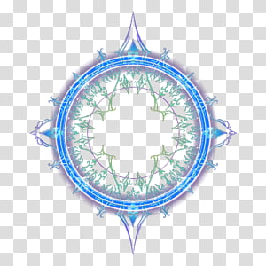 batas biru dan hijau bulat, lingkaran sihir, bunga sihir ajaib dan rumput PNG clipart
