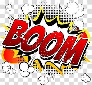 Kartun Komik Ilustrasi buku komik, BOOM Comic Explosion Cloud, ilustrasi kata boom yang beraneka warna png