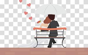 Asmara Pasangan pernikahan Cinta, Kartun pengantin wanita, pengantin pria dan wanita di bawah payung ilustrasi PNG clipart